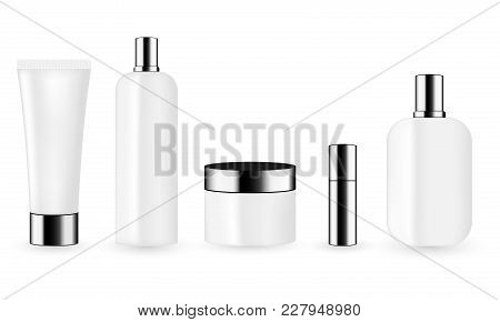 White Color Cosmetic Package Template Collection For Cream, Foams, Gel, Lotion, Pomade And Shampoo.