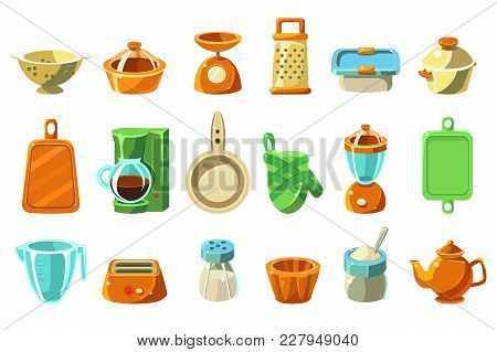 Kitchenware Sett, Kitchen Utensils, Cookware For Cooking Vector Illustrations Isolated On A White Ba