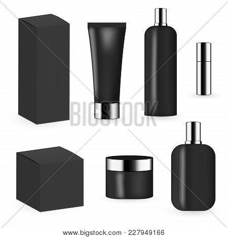 Black Color Cosmetic Package Template Collection For Cream, Foams, Gel, Lotion, Pomade And Shampoo.