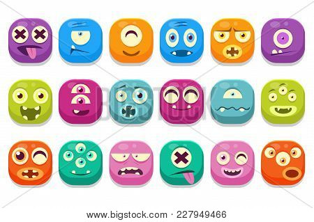 Colorful Buttons Emoticons Sett With Different Emotions Vector Illustrations, Funny Emoji Monsters C