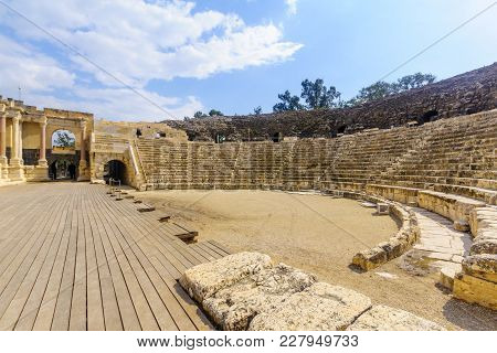 View Of The Roman Theater In The Ancient City Of Bet Shean, Now A National Park. Northern Israel