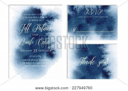 Indigo, Navy Blue Wedding Set With Beautiful Hand Drawn Watercolor Background. Includes Invintation,