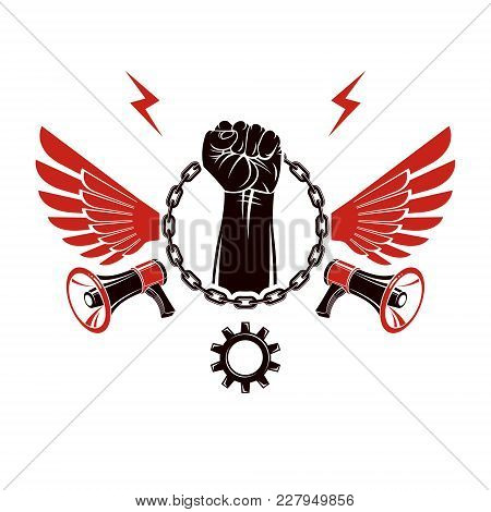 Vector Emblem Composed With Strong Raised Clenched Fist Surrounded By Iron Chain, Freedom Wings And