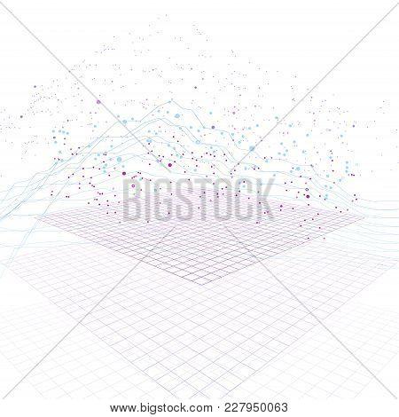 Big Data Stream Futuristic Infographic On Digital Cyber Surface. Quantum Computing, Cryptography, Tr