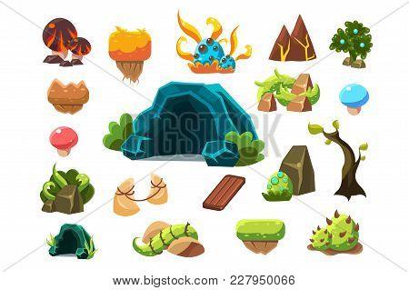 Fabulous Cave, Trees, Plants, Mushrooms, Design Elements Fo Fantasy Landscape, World Of Trolls Vecto