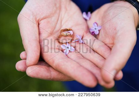 Men's Hands Wedding Rings
