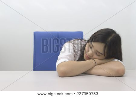 Beautiful Asian Office Lady Napping At The Office