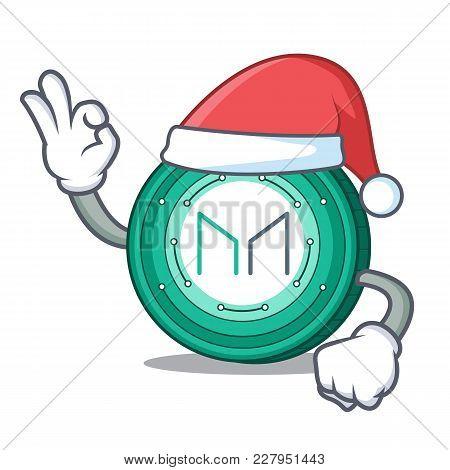 Santa Maker Coin Mascot Cartoon Vector Illustration