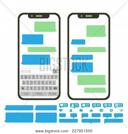 Chatbot Text Message Vector. Chat Bot Bubble Set Template. Modern Mobile Application Messenger Inter