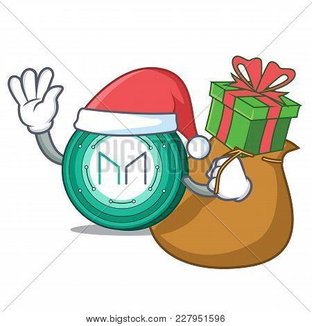 Santa With Gift Maker Coin Mascot Cartoon Vector Illustration