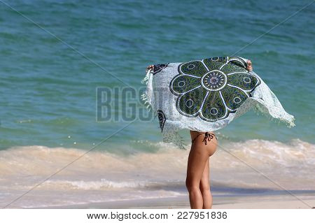 The Girl Stand With Blanket On The Beach, Summer In Thailand