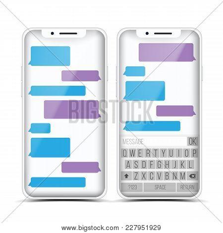 Social Messenger Vector. Speech Bubbles Constructor. Realistic Modern Mobile Application Messenger I