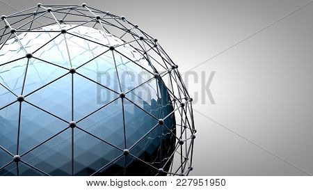 Wireframe Connecting Sphere. Connection Lines Around Earth Globe. The Concept Of Social Network, Glo