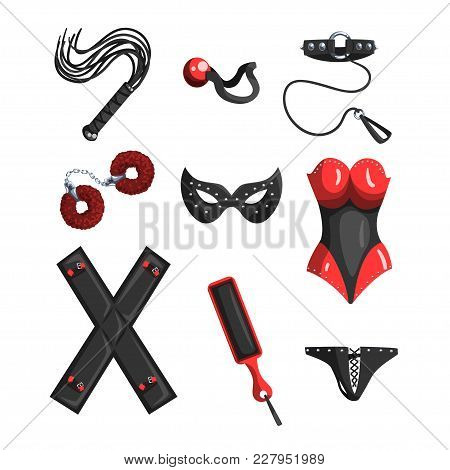 Fetish Stuff For Role Playing And Bdsm Sett Of Vector Illustrations Isolated On A White Background.