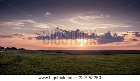 Sunrise In  Field,  Beginning Of  New Day