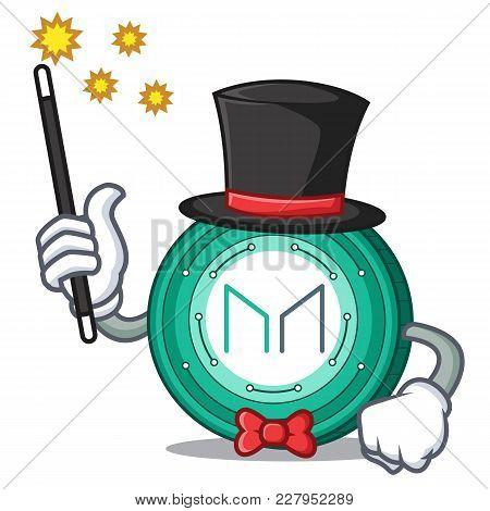 Magician Maker Coin Mascot Cartoon Vector Illustration