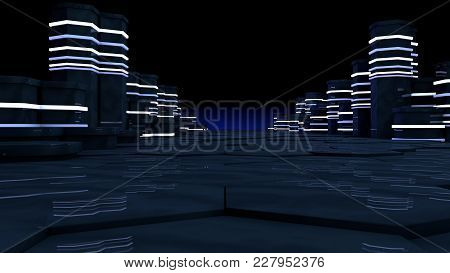 Futuristic Concept Of Server Room In Datacenter. Big Data Storage, Server Racks With Neon Lights On