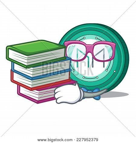 Student With Book Maker Coin Mascot Cartoon Vector Illustration