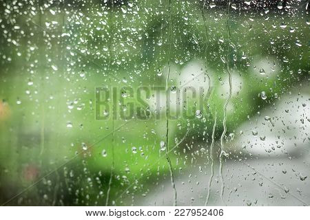 Drops Of Rain On The Glass, Bad Weather, Sadness And Melancholy