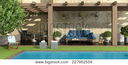 Garden With Pergola , Pool And Furniture - 3d Rendering