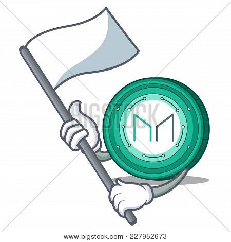 With Flag Maker Coin Mascot Cartoon Vector Illustration