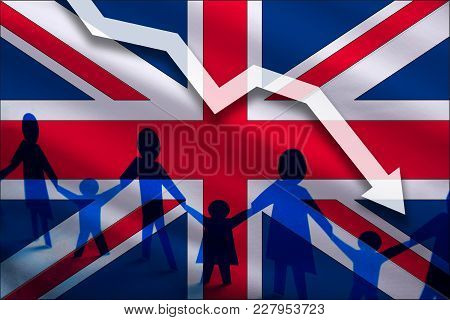 Great Britain Flag Background Of The Arrow Chart Down. Decrease In The Number Of The Country's Rape.