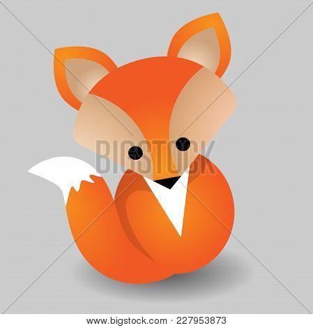 Cute Fox Adorable Cartoon Vector Illustration. Smiling Baby Animal Foxy Orange Fur Isolated On White