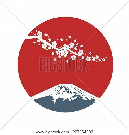 Cherry Blossom Branch With Red Sun In Asian Style. Sakura Blossom And Sunrise. Japanese Symbols Moun