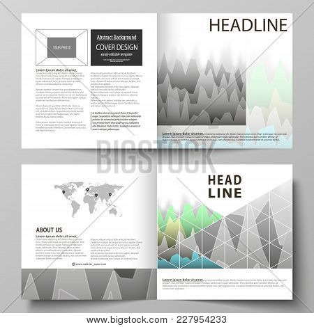 The Vector Illustration Of The Editable Layout Of Two Covers Templates For Square Design Bi Fold Bro
