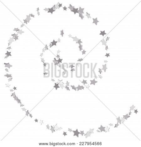 Silver Volumetric Star-confetti Fall On A White Background. Falling Stars On A White Background. Bri