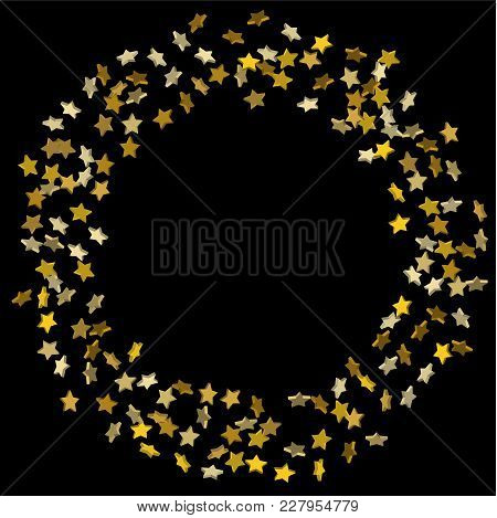 Star Confetti. Golden Casual Confetti Background.  Illustration Of Flying Shiny Stars. Decorative El