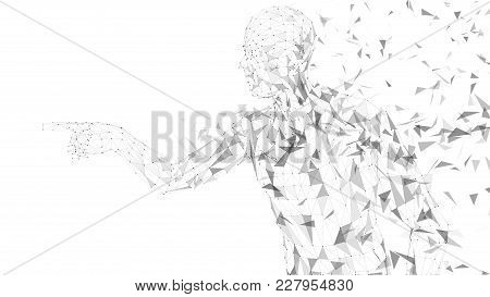 Conceptual Abstract Man Touching Or Pointing To Something. Connected Lines, Dots, Triangles, Particl