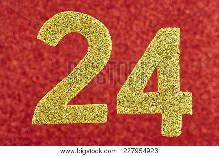 Number Twenty-four Golden Color Over A Red Background. Anniversary. Horizontal