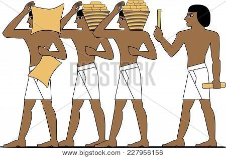 Ancient Egypt Builders At Work Illustration, Man At Work, Group Of Workers, Egypt Murals, Ancient Eg
