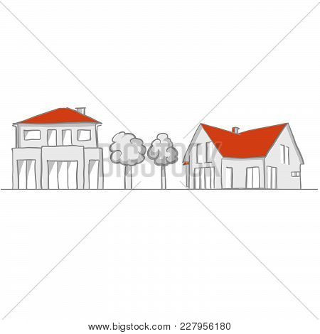 Small House And Garden Sketch. Line Art Drawing By Hand. Travel Design, Architecture Icon For Greeti