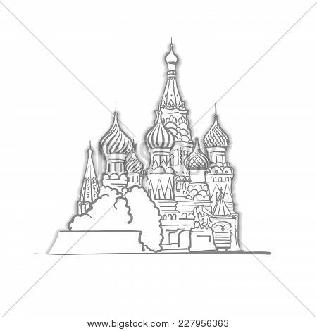 Moscow Saint Basils Cathedral Sketch. Line Art Drawing By Hand. Travel Design, Architecture Icon For