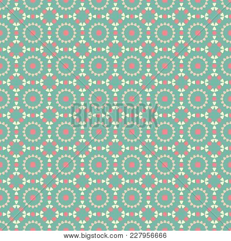 Vintage Seamless Geometric Pattern, Green Pastel Color, Vector Ethno Folk Pattern From Multi-colored