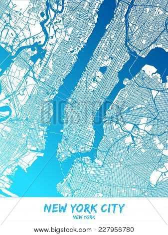 New York City Downtown And Surroundings Map In Blue Shaded Version With Many Details. This Map Of Ne