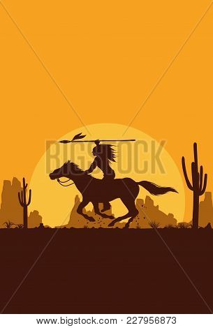 Silhouette Of Native American Indian Riding Horseback With A Spear