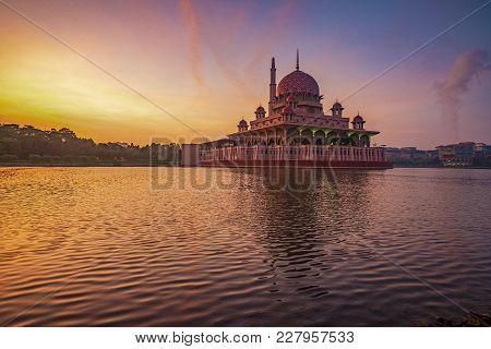 Glorious And Colourful Sunrise At Putra Mosque In Putrajaya, Malaysia. This Is A Famous Tourist Dest