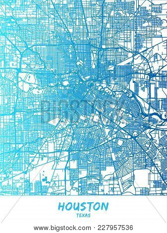 Houston Downtown And Surroundings Map In Blue Shaded Version With Many Details. This Map Of Houston