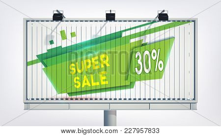 Big Billboard Green Sale Banner With Three Lights, Gigantic Word Super Sale, Thirteen Percent And Th