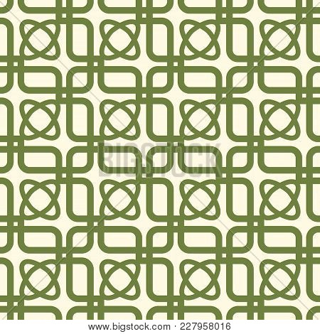 Green And White Kaleidoscope Seamless Pattern Repeating Symmetric Squares, Elements And Oval Shapes