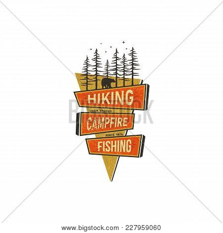 Vintage Hand Drawn Travel Badge Design. Camping, Hiking Travel Badge Design Concept In 70s Style Wit