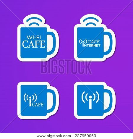 Set Of Blue Cups Logo. Internet Cafe Stickers. Wifi Sign