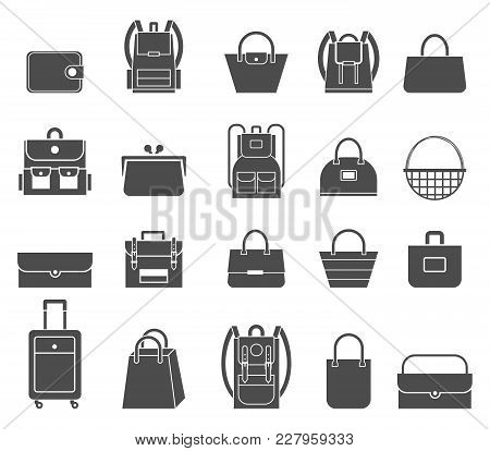 Shopping Icons Set. Bag Icons. Set Of Stylish Women S Handbags - Tote, Shopper, Hobo, Bucket, Satche