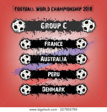 Soccer Tournament 2018. Football Championship Group C. Vector Illustration