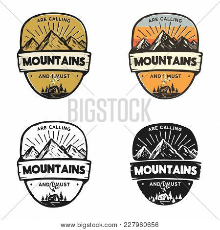 Travel Logo Design Concepts. Monochrome, Retro Colors, Line, Silhouette Styles. Mountain Adventure B
