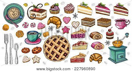Bakery Pastry Sweets Desserts Objects Collection Shop Cafe Poster Restaurant Menu Food. Scarpbook Ha