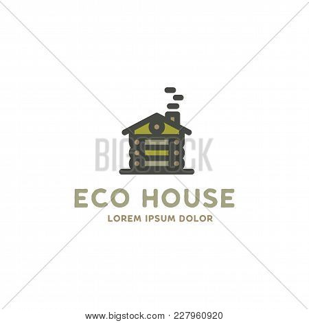 Eco House Logo Template. Flat Design Concept Of Eco House, Wooden House. Stock Vector Logotype Isola